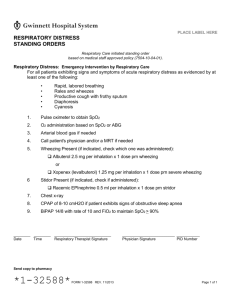 Respiratory Distress Standing Orders - 32588