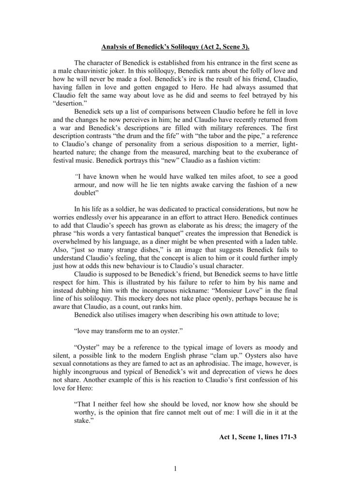 Analysis Of Benedicks Soliloquy Act 2 Scene 3