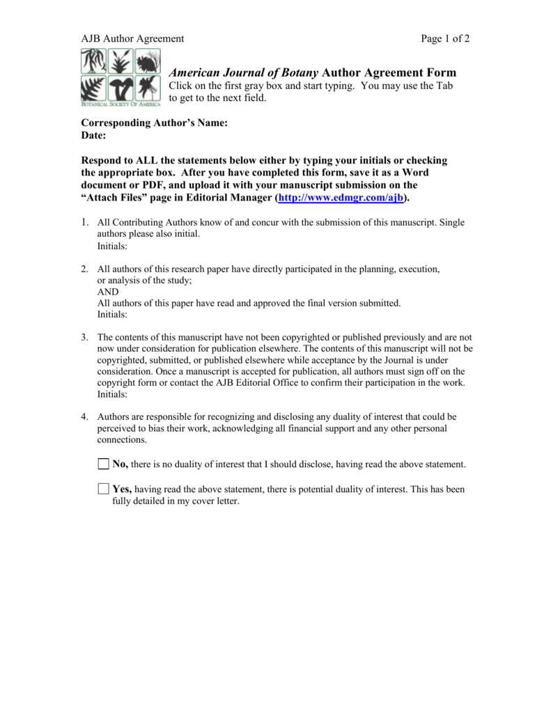 American journal of botany author agreement form platinumwayz