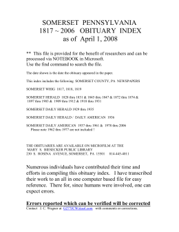 Somerset County Obituary Index 1817-2006