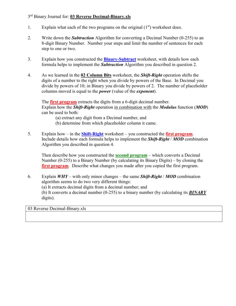 Binary Journal 03 Reverse Dec