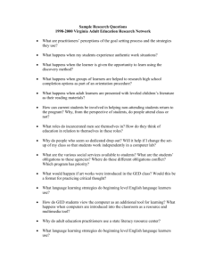 Sample Research Questions - Virginia Adult Learning Resource