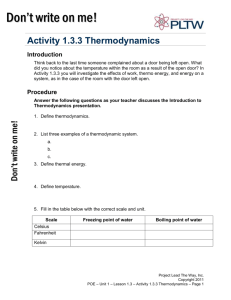 Activity 1.3.3 Thermodynamics