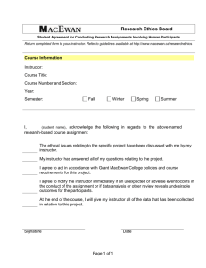 Student Agreement for Conducting Research