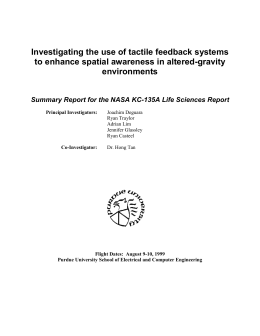 Investigating the use of tactile feedback systems to enhance spatial