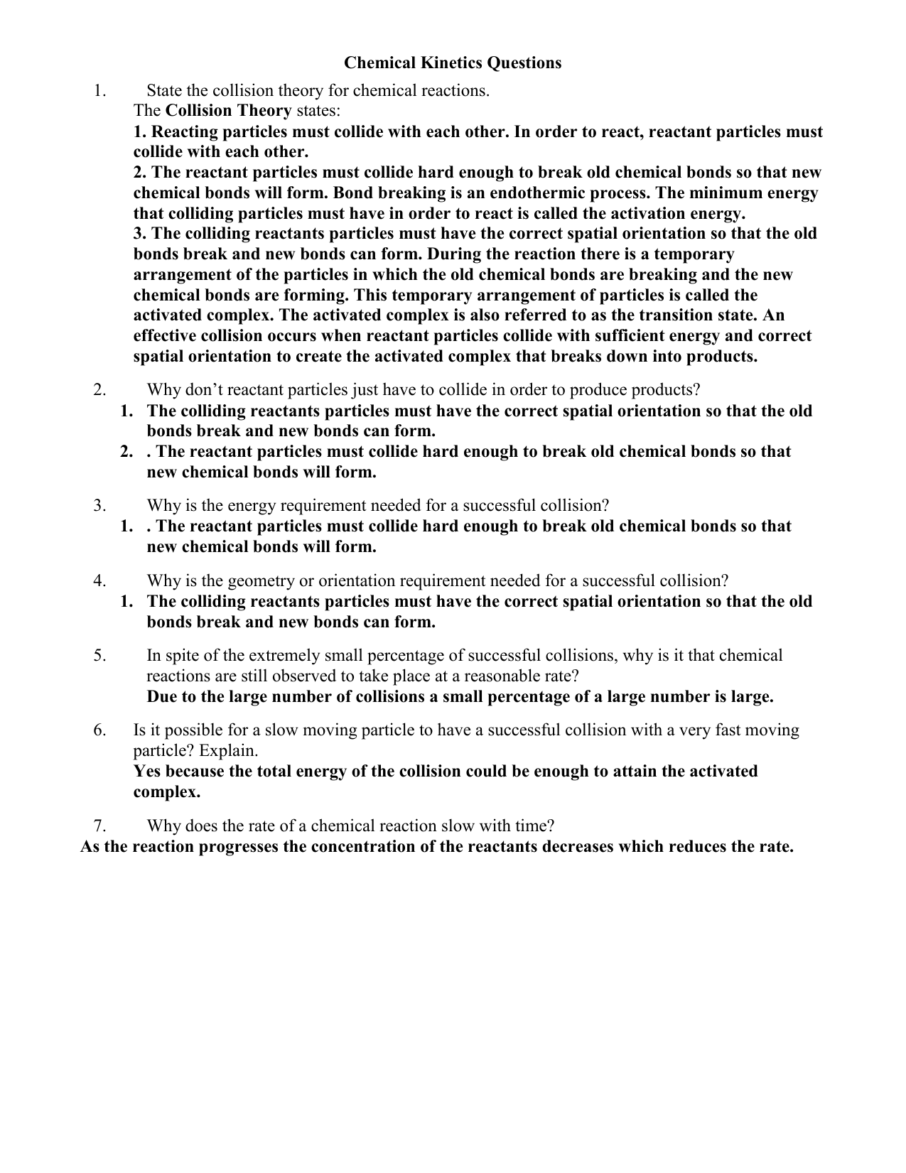 Worksheets Collision Theory Worksheet reaction rate review questions