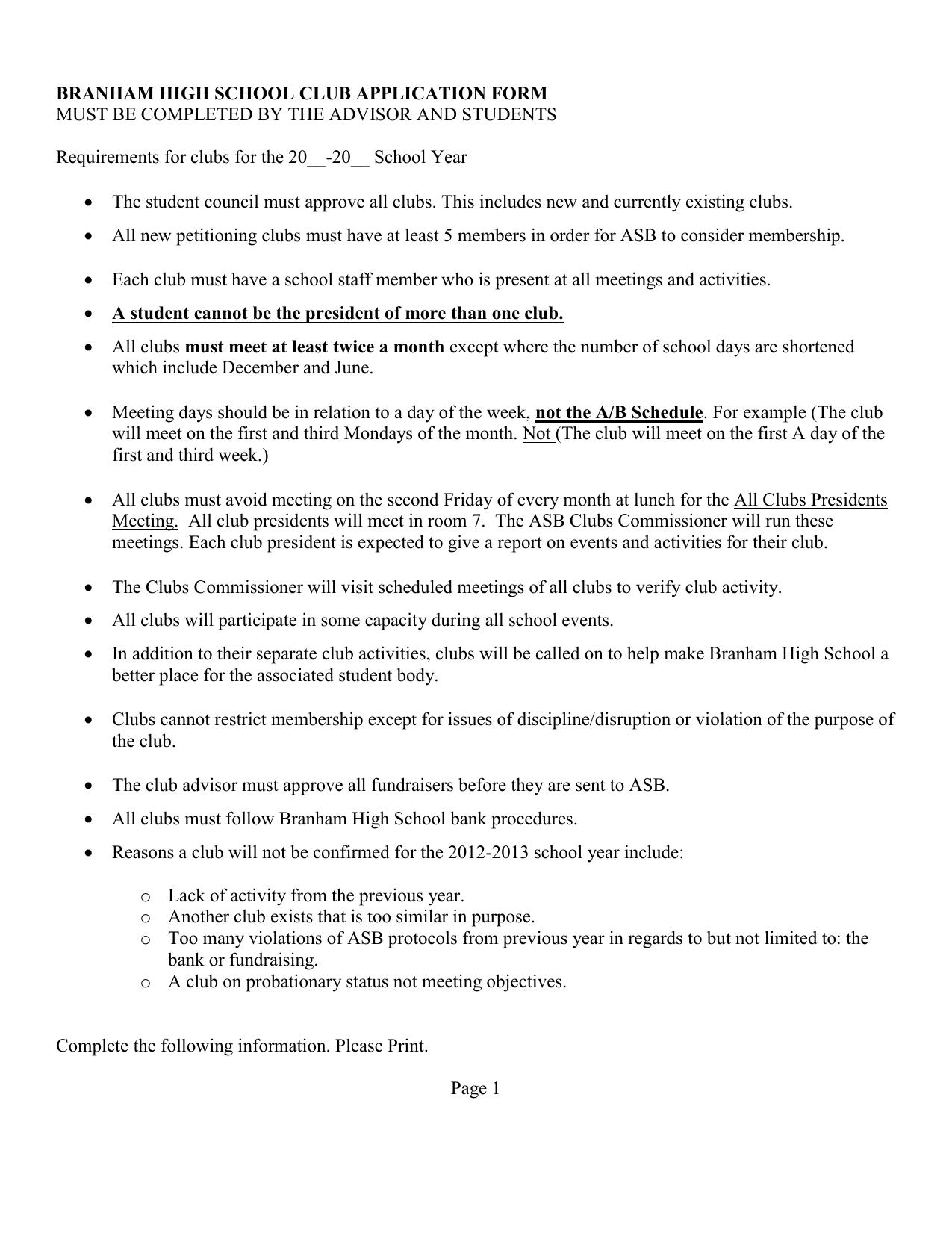 club application form