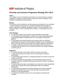 Diversity and Inclusion Programme Strategy 2011-2015