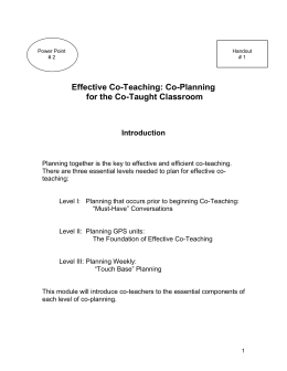 Essential Components for Planning Effective Co-teaching