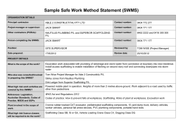 Safe Work Method Statement Template Sample