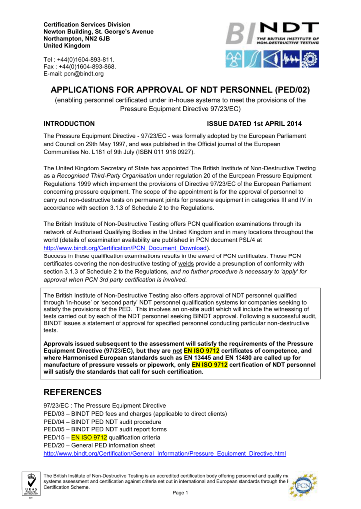 APPLICATIONS FOR APPROVAL OF NDT PERSONNEL