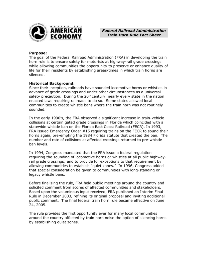 Federal Railroad Administration Train Horn Rule Fact Sheet