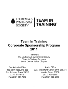 Team In Training Corporate Sponsorship Program 2011 To Benefit