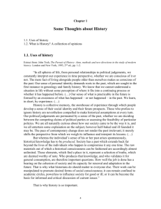 Chapter 1 Some Thoughts about History 1.1. Uses of history 1.2