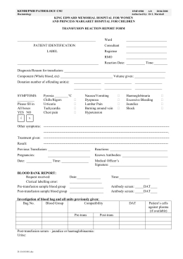 transfusion reaction report form