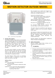 MDO01 : Motion Detector Outside Technical Product Information