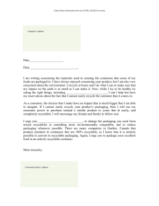 Draft letter for mixed recycling containers