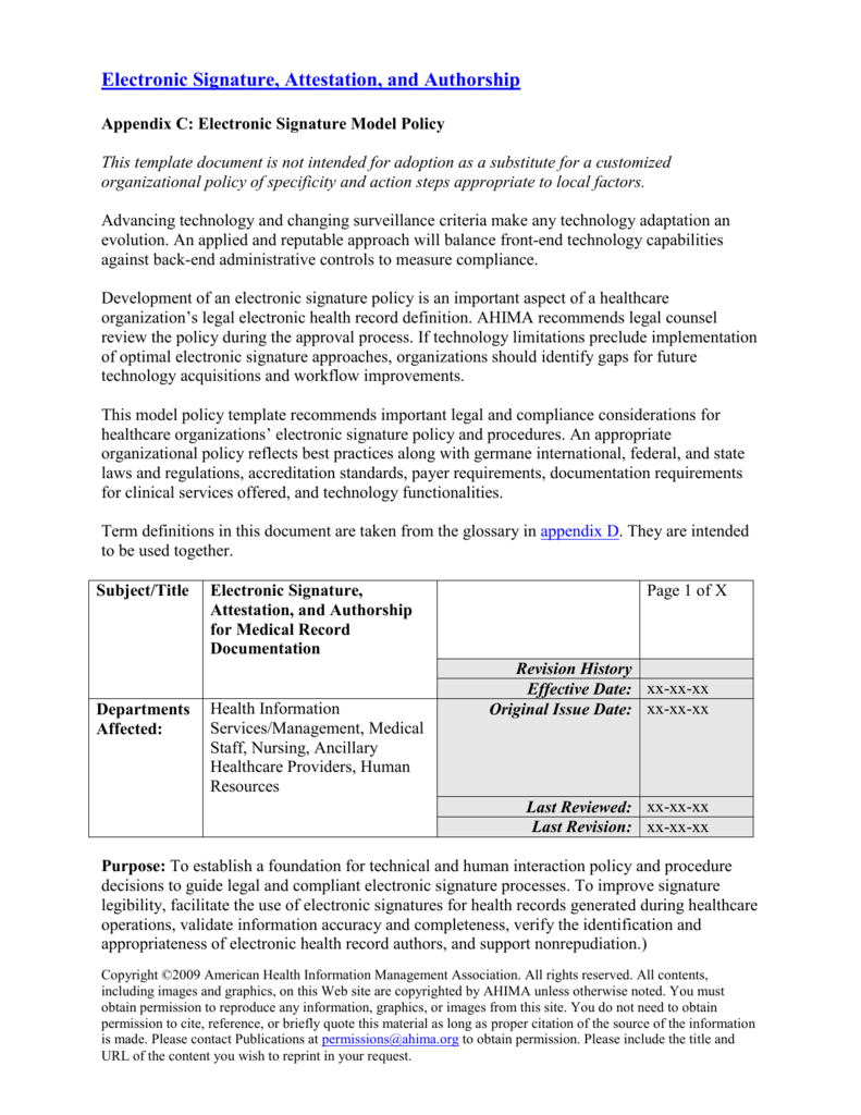 policy and procedure template ahima