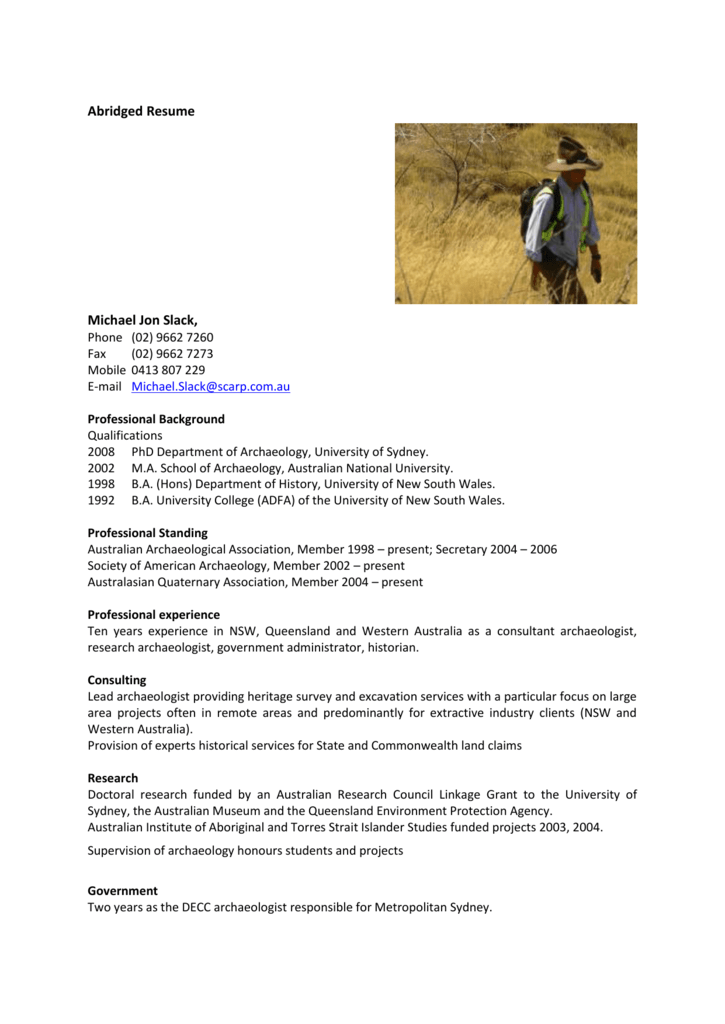 abridged resume scarp archaeology
