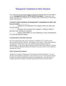 Management Commitment to Safety Statement