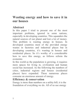 Wasting energy and how to save it in our houses