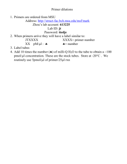 Primer Dilutions for MSU ordered primers ¨C Description of how to