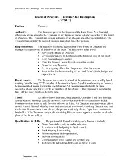 GLT Treasurer Job Description