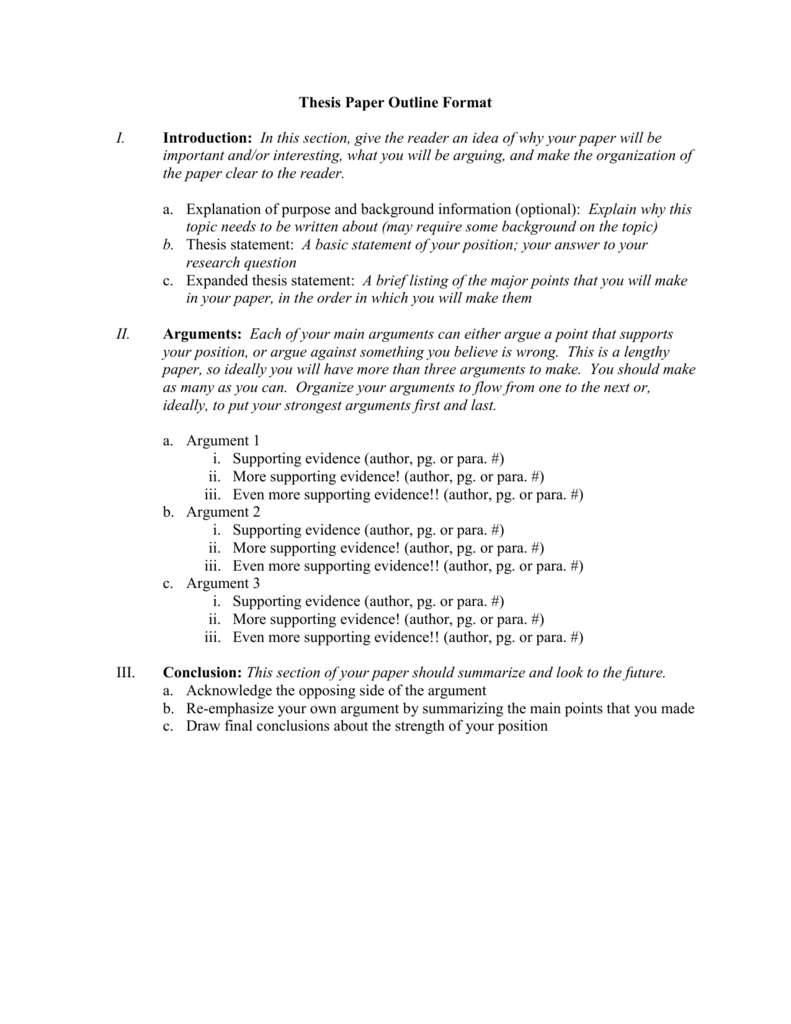 exploratory paper outline