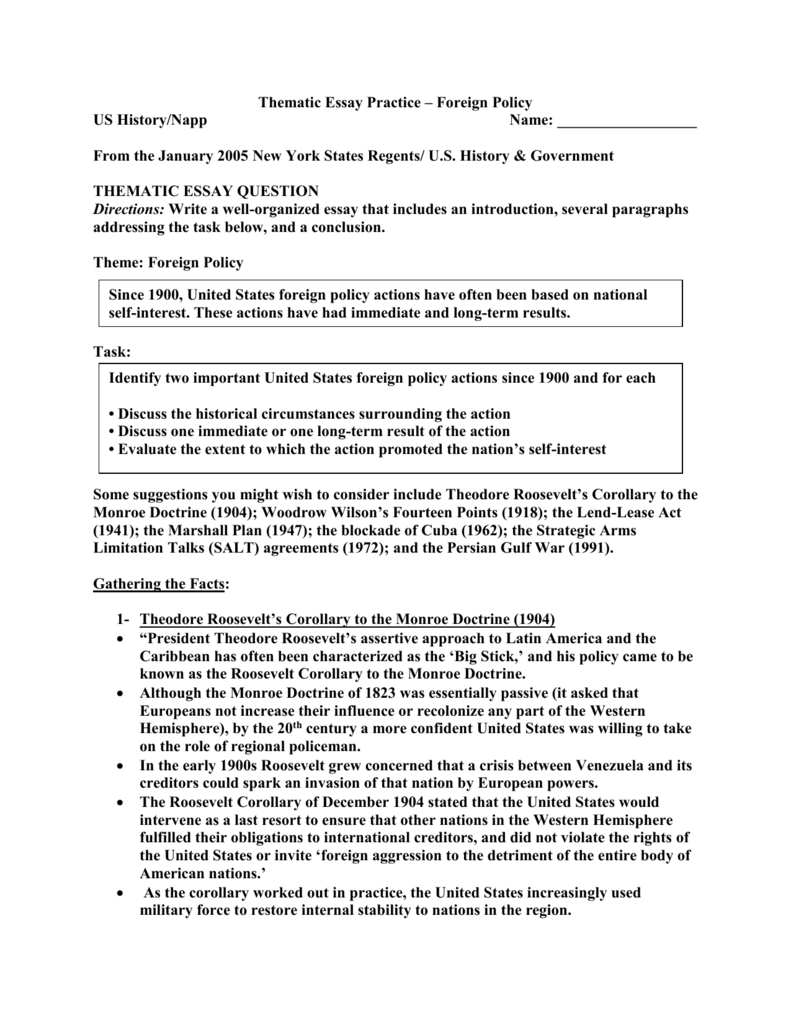 foreign policy thematic essay