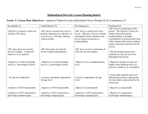 Factor 1: Lesson Plan Objectives – (Content of Objectives