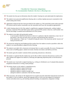 Checklist for classroom adaptations and strategies to accommodate
