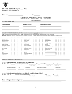 1. Medical/Psychiatric History Form