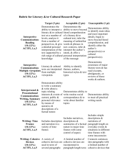 Rubric for Literary &/or Cultural Research Paper