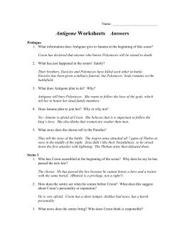 Worksheets Antigone Worksheet Answers antigone worksheets answers name