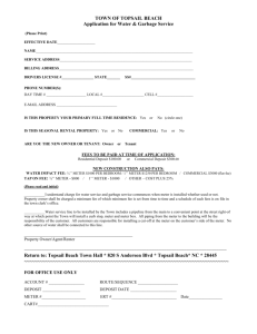 APPLICATION FOR WATER SERVICE