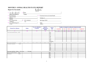 MONTHLY ANIMAL HEALTH STATUS REPORT (Sheet 1 of 3)