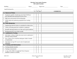 Noise and Hearing Conservation checklist