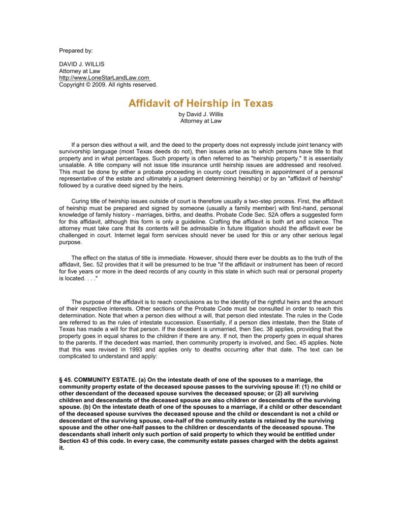 Affidavit of Heirship in Texas