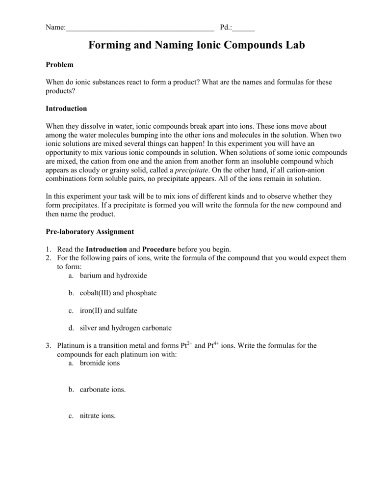 Forming and Naming Ionic Compounds – Writing Ionic Compounds Worksheet