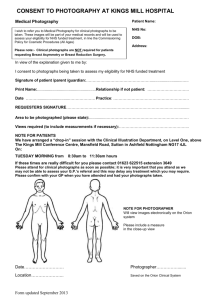 Consent to Photograph Form for SFHT