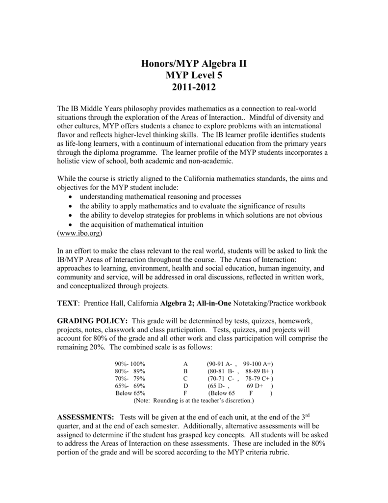 Workbooks prentice hall algebra 2 workbook : Honors/MYP Algebra II