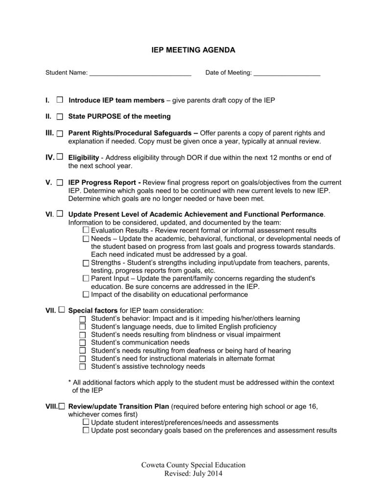 IEP Meeting Agenda Sample