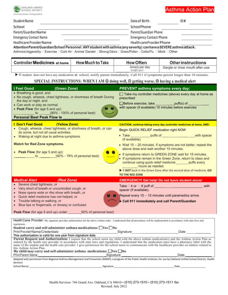Asthma Action Plan (English) - Oakland Unified School District