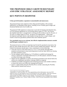 Key points for UGB and EPBC assessment