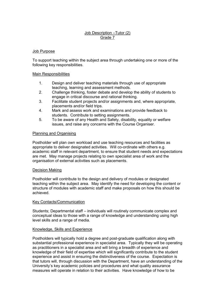 Tutor 2 Job Description