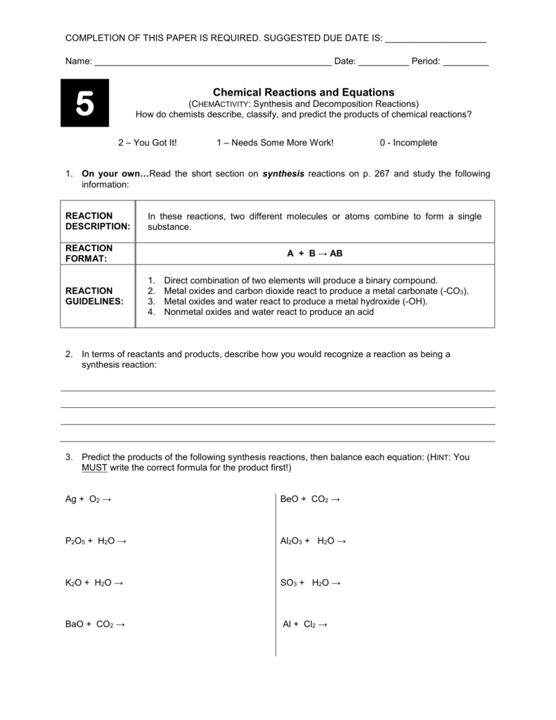 Worksheets Synthesis Reaction Worksheet synthesisdecomposition reactions