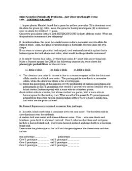 Genetics Practice Problems Worksheet: Incomplete Dominance ...