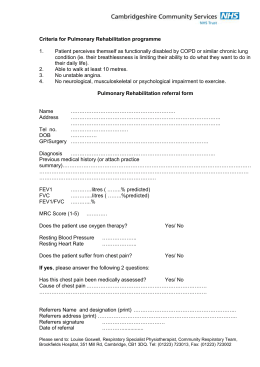 Pulmonary Rehabilitation Referral Form