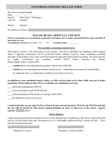 Surgery Admittance Form - Pine Street Animal Hospital