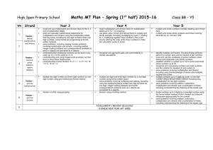 Maths MTP Spring 1 - High Spen Primary School